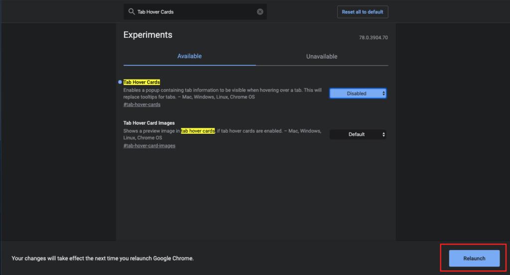 Chrome機能の設定変更画面-変更後のリロード